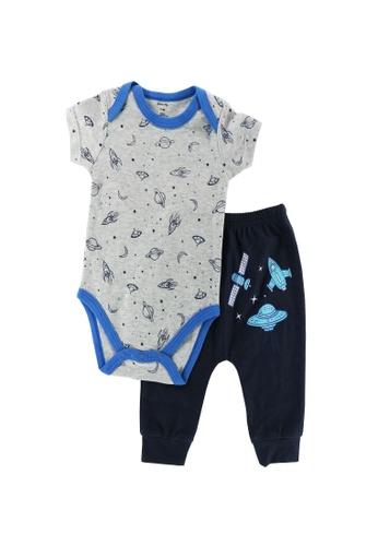 Mellow grey and blue Mellow Space Romper + Pants 00154KADB68F5DGS_1