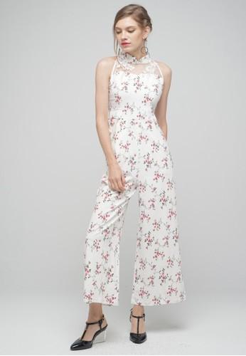 Megane white Red Romance Jessamine Mandarin Collar Jumpsuit 9BAEAAA35F6BB4GS_1