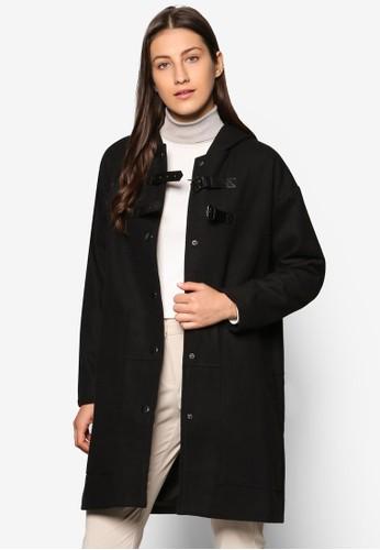 Collesprit twection 仿皮邊飾鈕扣大衣, 服飾, 外套
