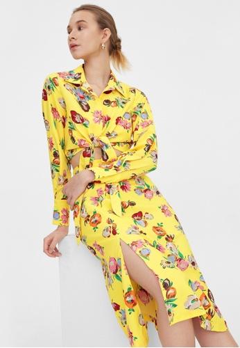 Pomelo yellow Floral Print Side Slit Skirt - Yellow C86EFAA6D1DA2DGS_1
