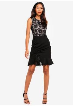 9e289e54d28b 61% OFF BYSI Lace Trim Ruched Dress S  79.00 NOW S  30.90 Sizes S L XL