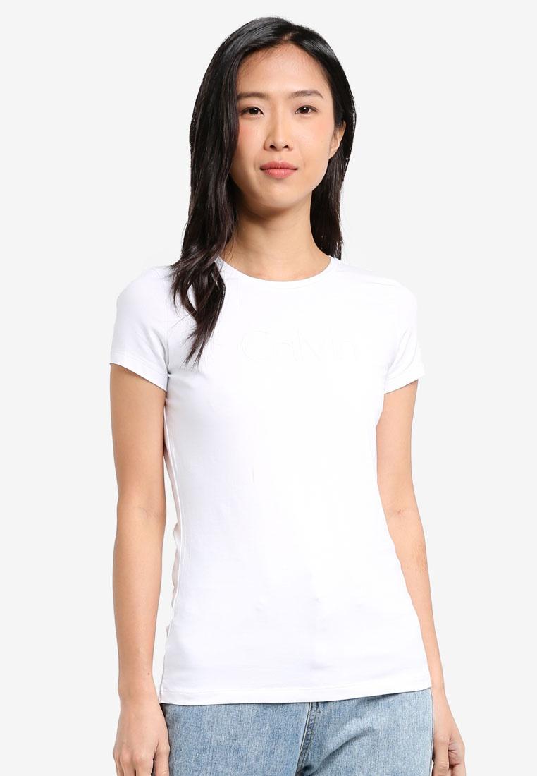 Jeans Bright White Calvin Klein Logo Tee Calvin Short Klein Slim Sleeve  WZqy88fp ... 496d632006