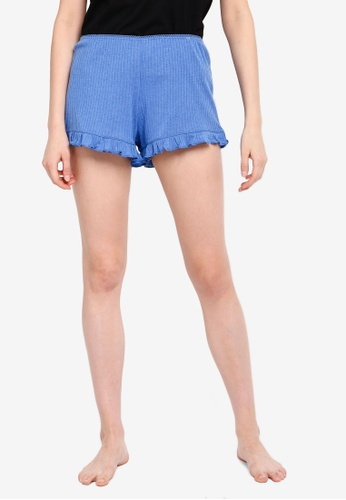 Cotton On Body blue and multi Rib Frill Shorts B0D98AAAD37A18GS_1