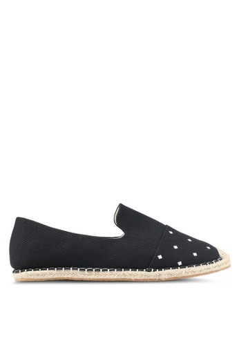 JAXON black Embroidered Canvas Espadrilles AD4CFSH258DA71GS_1