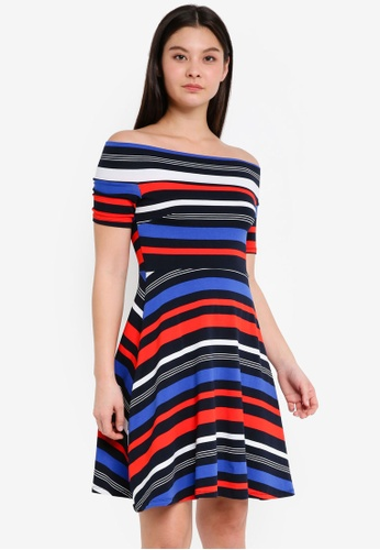 Dorothy Perkins multi and navy Stripe Bardot Skater Dress 690C1AAA251E29GS_1