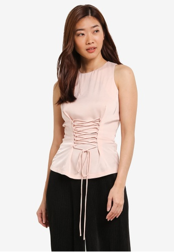 ZALORA beige Lace Up Fitted Top 71EADAA71D5044GS_1