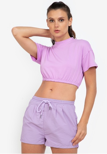 ZALORA ACTIVE purple Elastic Banded Crop T-Shirt BA113AA1B78D0AGS_1