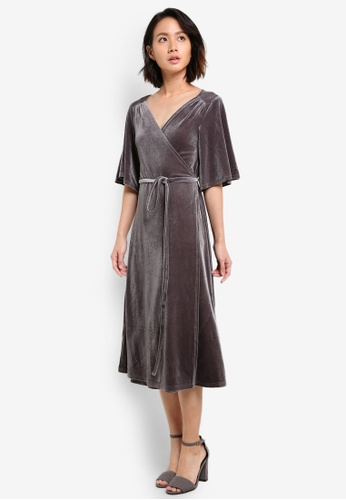 ZALORA grey Studio Velvet Wrap Dress 206B0AAFD9BE1BGS_1