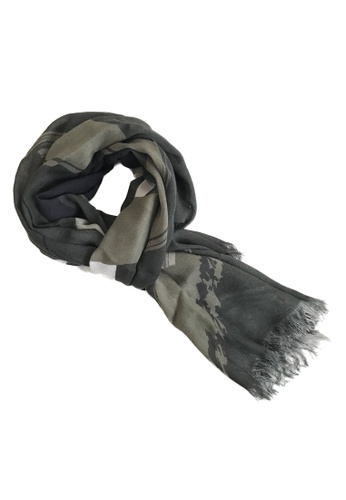 WEAVISM green Trails of the KOM Camouflage Collagen Scarf 4F68EAC5CA4EA0GS_1