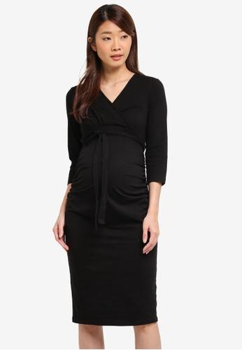 Dorothy Perkins black Maternity Ruched Wrap Dress 6E0E1AAE02BFAFGS_1