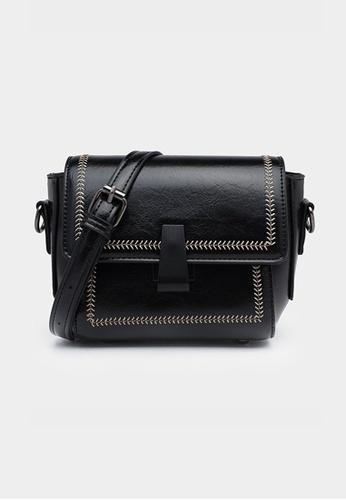 Lara black Women's Magnetic Buckle PU Leather Chain Cross-body Bag - Black 212BBACC5B2E87GS_1