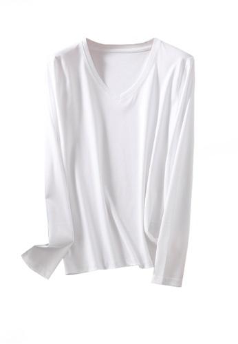 Twenty Eight Shoes white VANSA V-neck Mercerized Cotton Long-sleeved T-Shirt VCW-Ts0001V A39B9AA1DEB35EGS_1