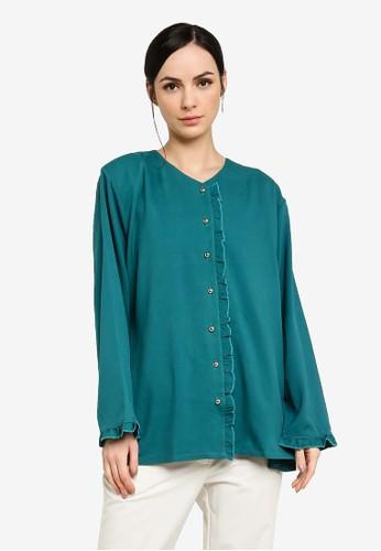 Gene Martino green Plus Size Muslimah Top 8329CAAA90D5E1GS_1