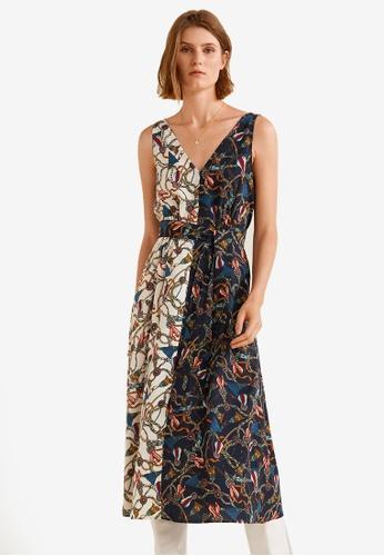 Mango blue and multi Monochrome Print Dress CF3BBAA4784CCAGS_1