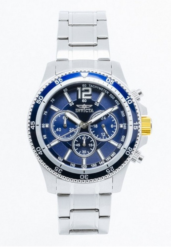 INVICTA blue and silver Invicta Specialty Men 45mm Case Silver Stainless Steel Strap Blue Dial Quartz Watch 13974 w/ Yellow Impact Case IN968AC0FQ5PSG_1