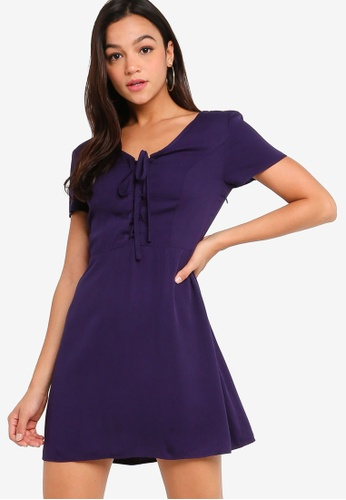 Something Borrowed navy Lace Up Detail Fit & Flare Dress 426ECAA111B11CGS_1