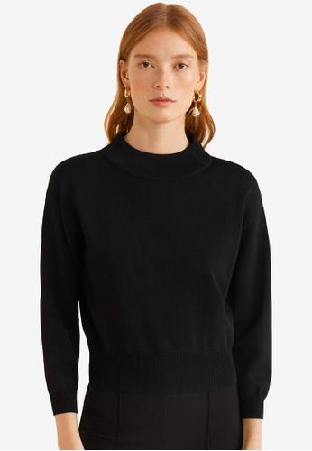 Mango black Ribbed Knit Sweater D3E85AA348CBECGS_1