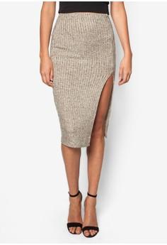 Knitted Rib Split Front Midi Skirt