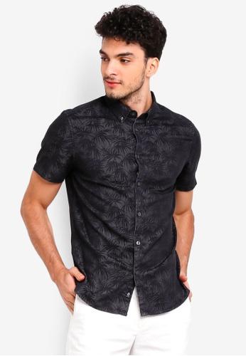 Burton Menswear London grey Grey Short Sleeve Denim Leaf Print Shirt AD9F5AAC12131BGS_1