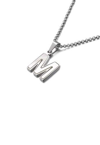 Glamorousky white Fashion and Elegant English Alphabet M Shell 316L Stainless Steel Pendant with Necklace 1C572AC6959A47GS_1