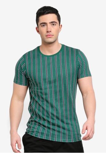 Brave Soul green Cript All Over Stripe T-Shirt BBA53AA55339B7GS_1
