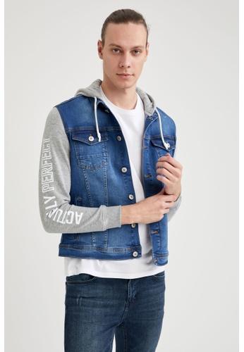 DeFacto blue Hooded Denim Jacket 1515AAA51BC1FDGS_1