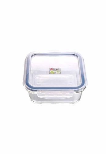 Slique grey Premium Square Glass Food Container 700ml 5771EHL5B8E6C6GS_1
