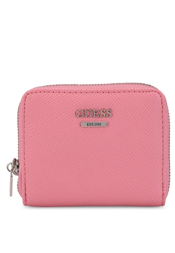 Guess pink Noelle Sling Small Zip Around Wallet 94666AC3F978E6GS_1