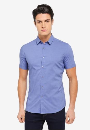 ZALORA blue Casual Collar Textured Short Sleeve Shirt 46A82AA31F68B1GS_1