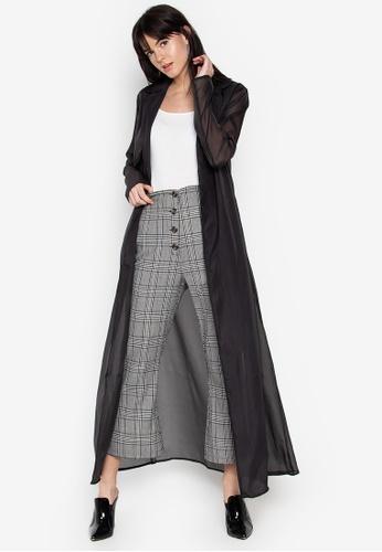 the___edit black Elise Sheer Trench Coat 9CAA0AAA85FA2DGS_1