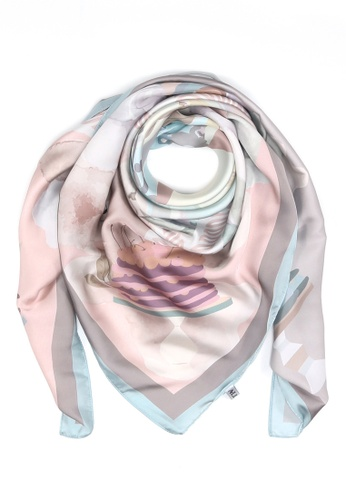 "Modest-Runway Inc. brown and multi and beige ALLURA ""The British Charm"" Afternoon Tea COTTON Scarf/Hijab B5780AAA6B886AGS_1"