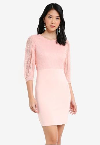 ZALORA pink Lace Top Dress E7E5DAAA7BDFB1GS_1