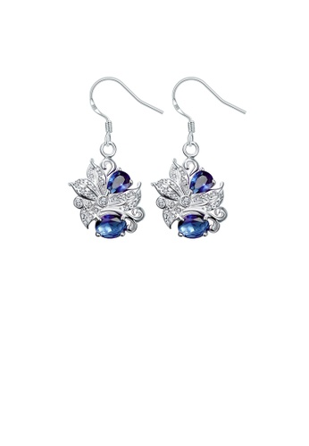 Glamorousky blue Elegant and Fashion Pattern Earrings with Blue Cubic Zircon 7B37FAC3688040GS_1