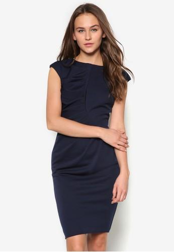 褶飾修zalora開箱身連身裙, 服飾, 緊身洋裝