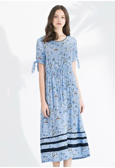 OUWEY歐薇 輕薄感海洋童趣印花長版洋裝
