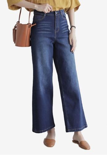 Eyescream navy High Waist Wide Jeans EY853AA0SZDHMY_1