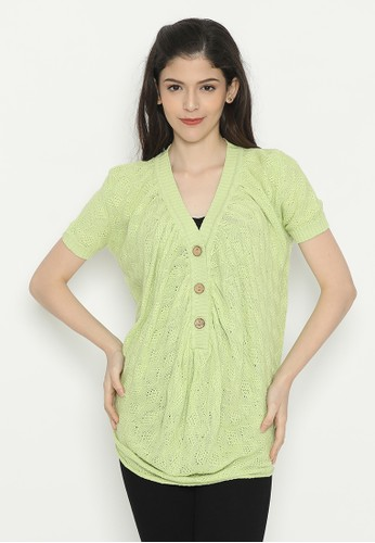 Mobile Power green Short Sleeve Top Knitting Green Mobile Power Ladies - D50044 3D167AAAE3F77AGS_1