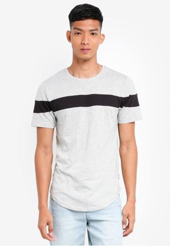 Only & Sons 灰色 短袖撞色T恤 DDA2BAA2619DE5GS_1