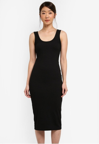 Miss Selfridge black Black Rib Mid Vest Dress 7545BAA6AACCC1GS_1