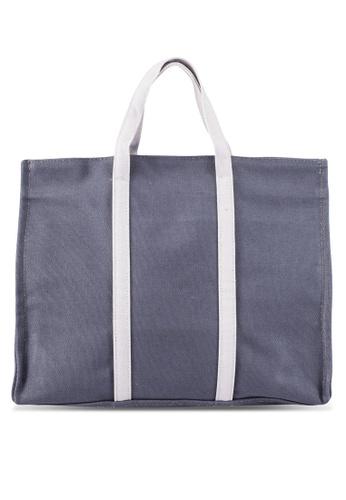 Bagstationz grey Duo-Tone Canvas Top Handle Bag BA607AC0RL0XMY_1